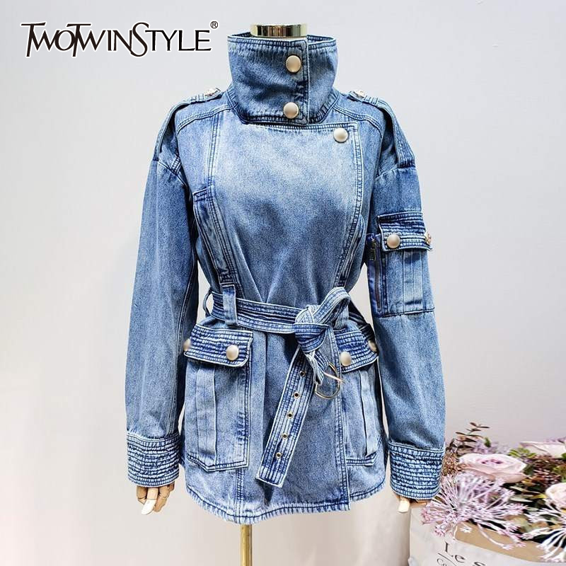 Denim Jacket Clothing Stand-Collar TWOTWINSTYLE Women Long-Sleeve Lace-Up No for Casual
