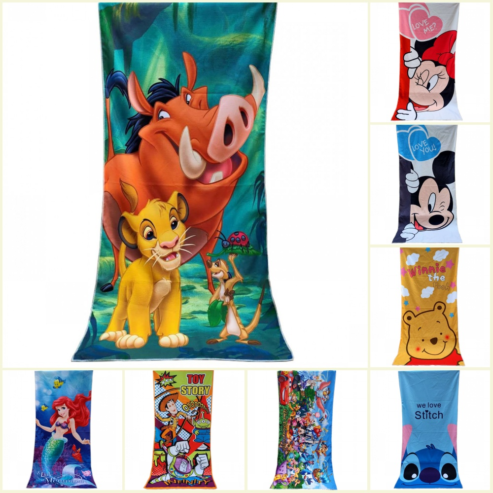 Disney Simba Lion King Winnie Cute Stitch Microfibre Home Baby Bath Beach Towel Polyester Children Swimming Towel 70X140cm