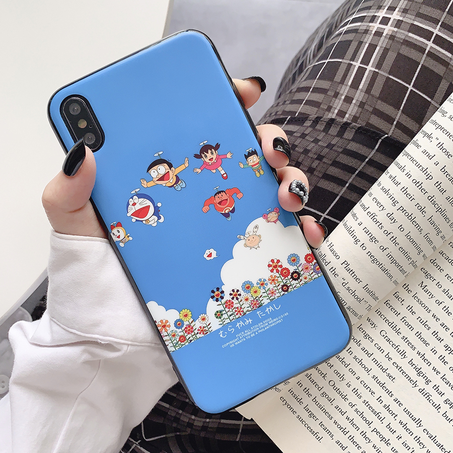 Cute Cartoon Robot Cat phone case for iphone X XS MAX XR 8 7 6 6s plus soft silicon Cartoon Classic cartoon Cat 8plus cases in Fitted Cases from Cellphones Telecommunications