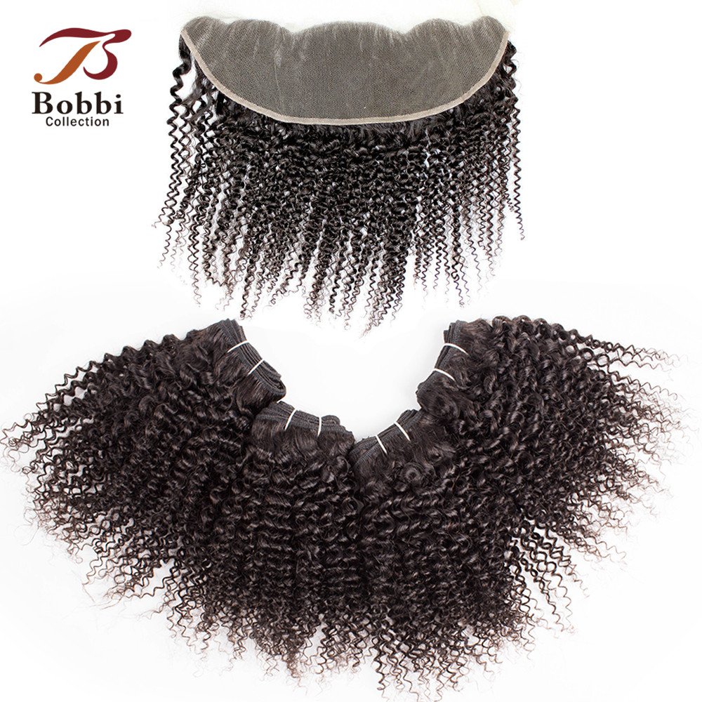 Bobbi Collection 4 Bundles With Frontal Closure 50g/pc Brazilian Kinky Curly Hair Natural Color Remy Human Hair