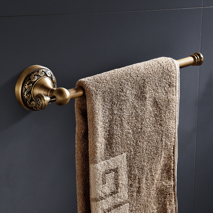 Wenzhou Manufacturers Wholesale Copper Vintage Brushed Towel Rack European Style Toilet Single Layer Wave Multi-functional Towel