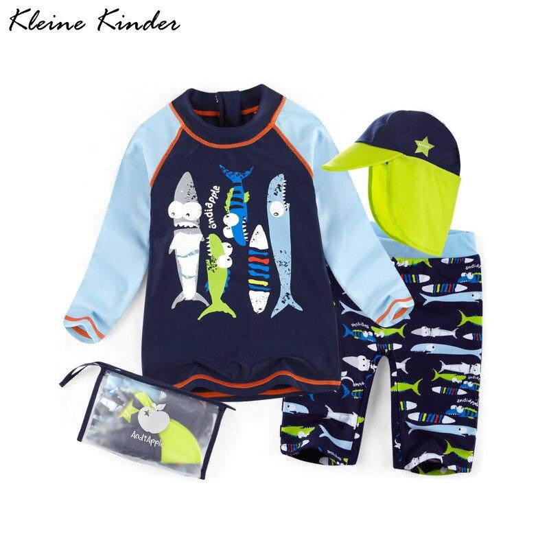 terno de banho para o menino 3 pecas maio da crianca dos desenhos animados peixe imprimir