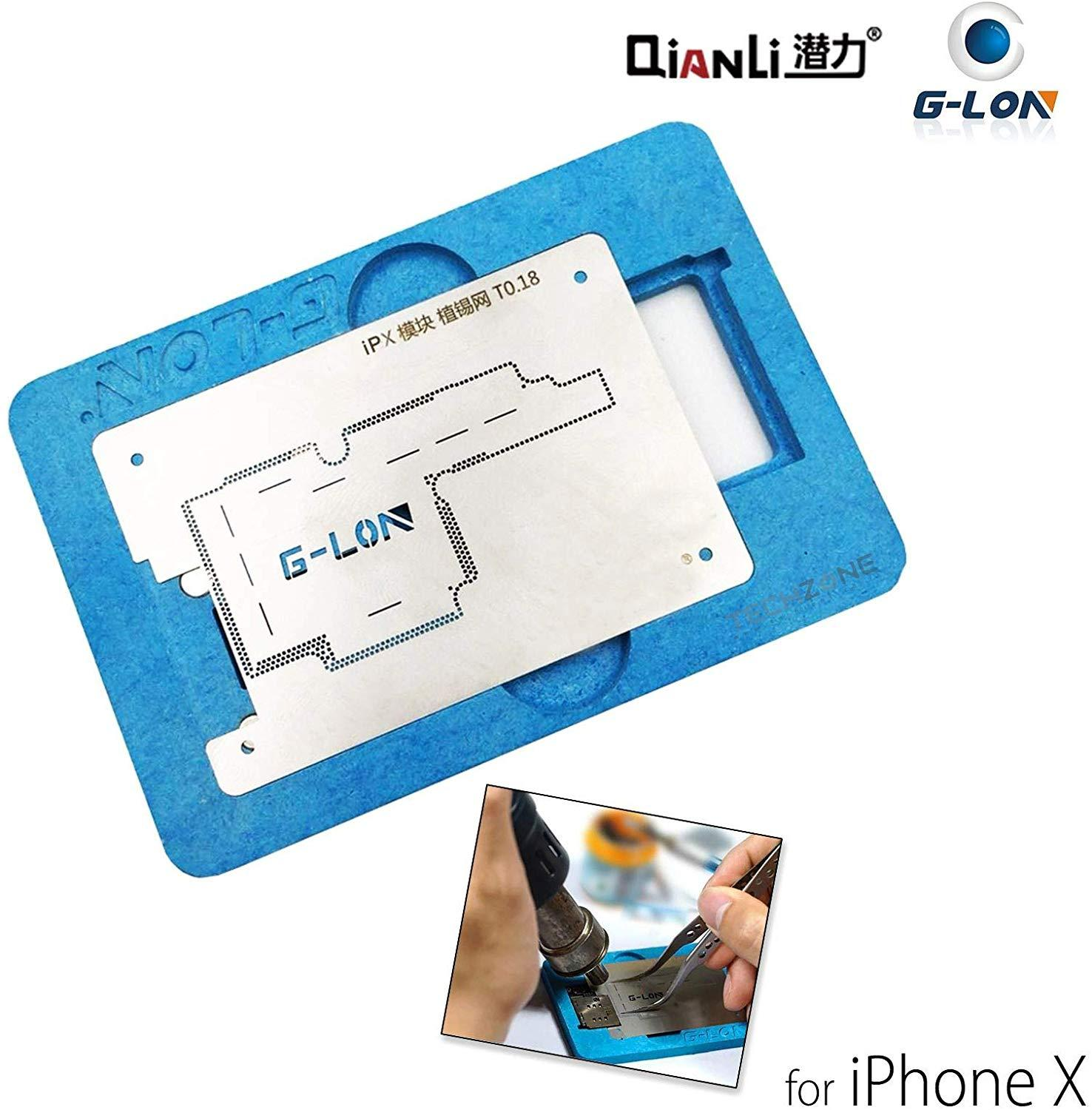 G Lon Middle Layer Board BGA Reballing Stencil Plant Tin Platform for iPhone X Motherboard Repair with Solder Paste Phone Screen Opening Tools     - title=