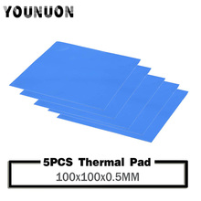 5pcs YOUNUON 100x100x0.5mm Thermal Pad GPU CPU Heatsink Cooling Conductive Silicone 0.5mm thickness thermal pad