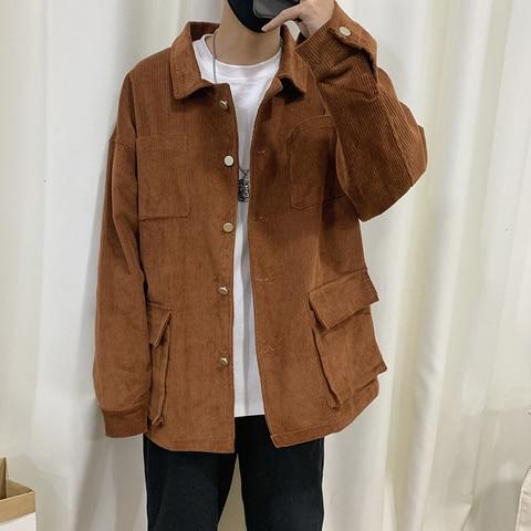 Autumn Corduroy Jacket Men Fashion Retro Solid Color Casual Cotton Jacket Man Streetwear Hip Hop Loose Coat Large Size M-5XL Pakistan