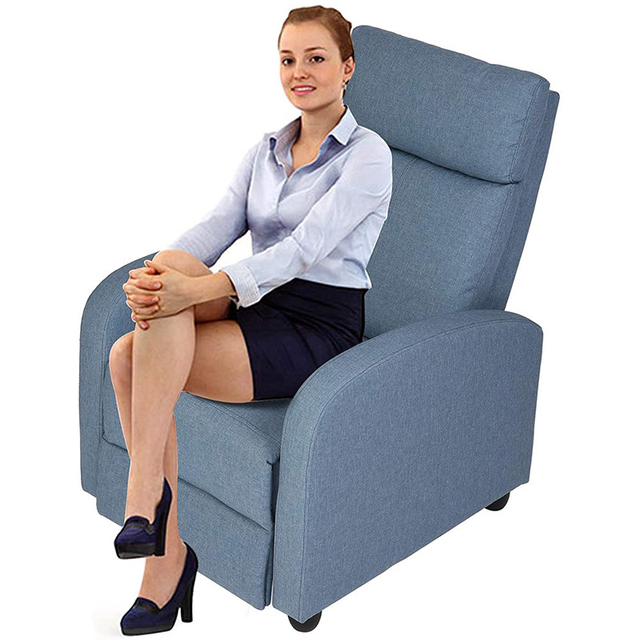 Fabric Recliner Chair Adjustable Single Sofa Home Theater Seating Recliner Reading Sofa for Living Room & Bedroom Red Gray Blue 3