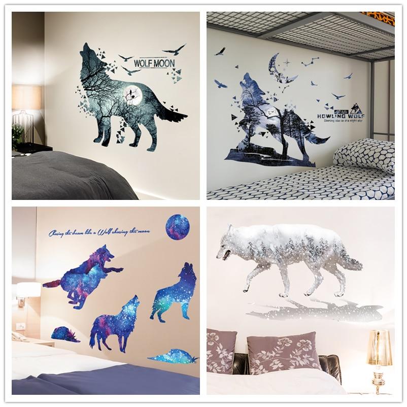 [SHIJUEHEZI] Wolf Wall Stickers Vinyl DIY Animal Wall Decals For Kids Rooms Baby Bedroom Nursery Home Decoration Muursticker