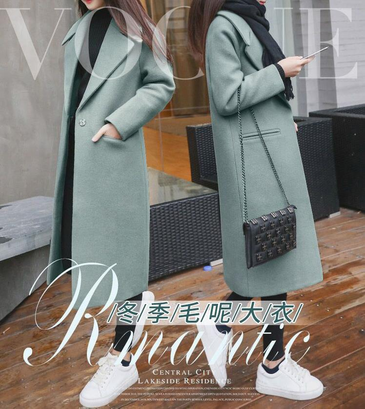 2019 New Ladies' jacket Fashion Single Breasted Slim Women Autumn Winter Wool Coat Long Wool Coat Spring Autumn Women Wool Coat 4