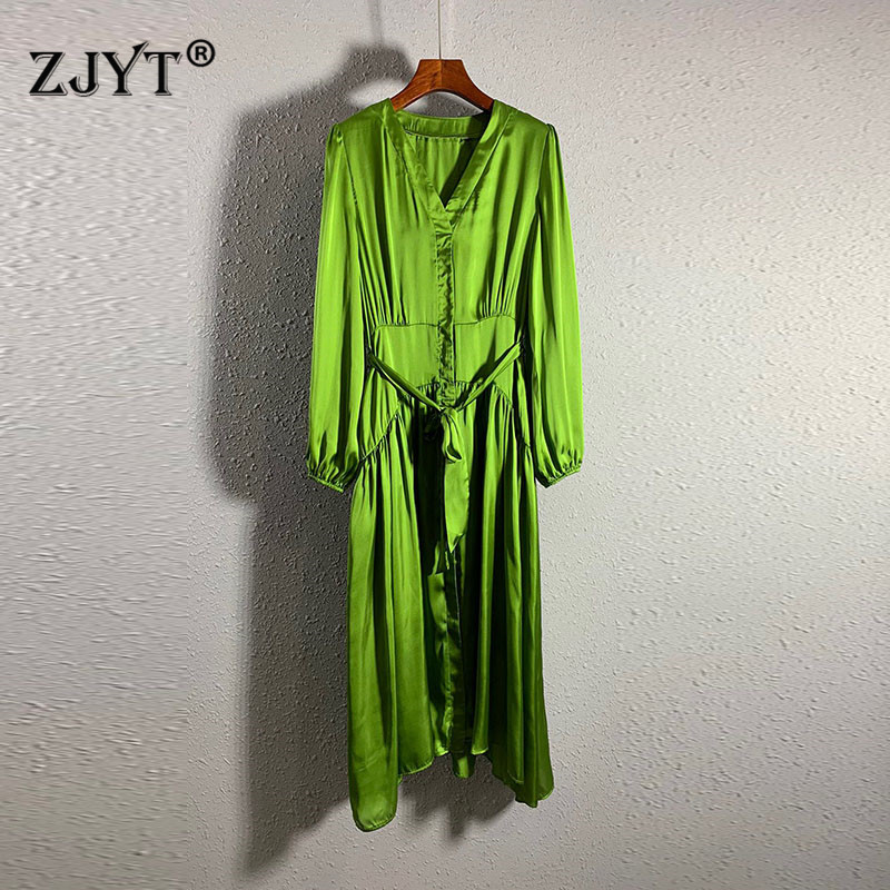 Fashion Summer Clothes for Women 2020 New Designer Runway Dress Long Sleeve Lace Up Solid Green Mid Calf Dresses