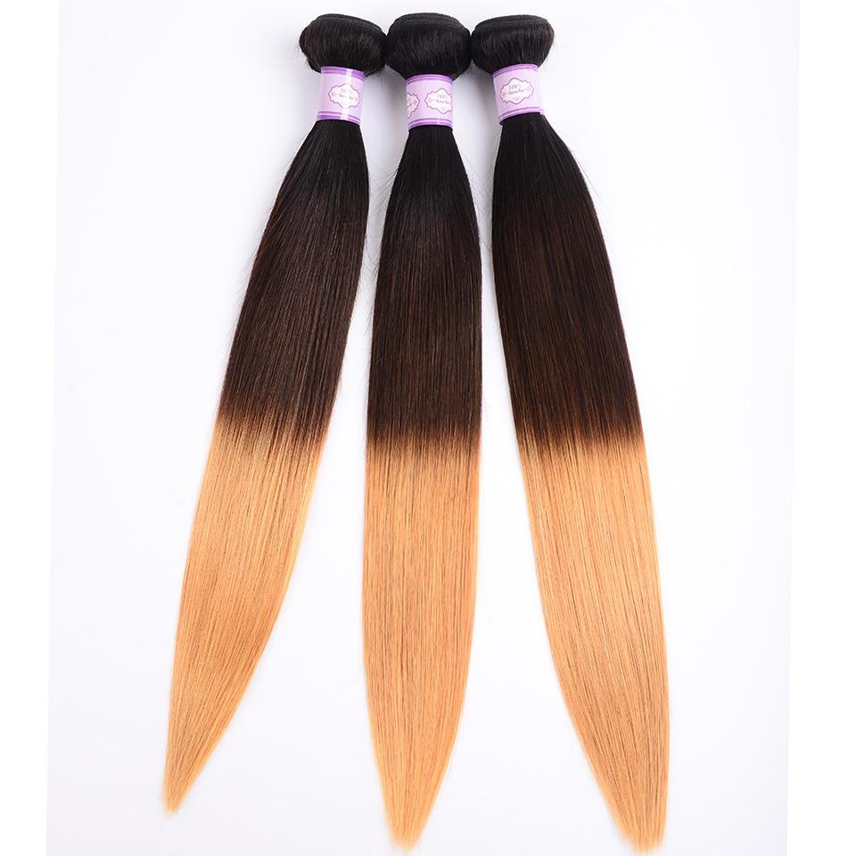 Lumiere hår indisk hårvævet bundter Ombre lige 3 hår bundter menneskehårforlængelse T1B / 4/27 Ikke-remy 150% Gratis forsendelse