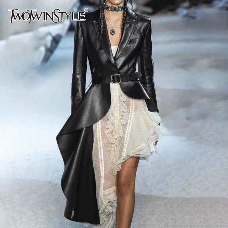 TWOTWINSTYLE PU Leather Women's Trench Lapel Collar Long Sleeve Sashes Irregular Hem Windbreaker Female 2020 Fashion Autumn