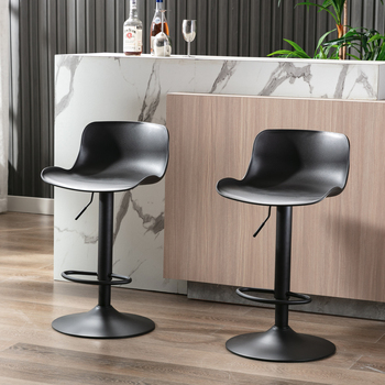 Contemporary Bar Stools Set Of 2 Pieces Black Adjustable Furniture Chairs Ship From USA Warehouse