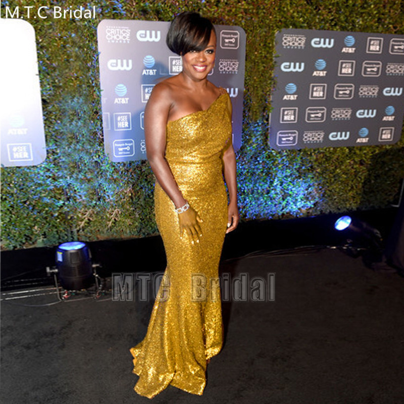 Sparkly Gold Sequin Mermaid Long Prom Dresses One Shoulder Floor Length African Celebrity Evening Party Gowns Robe De Soiree