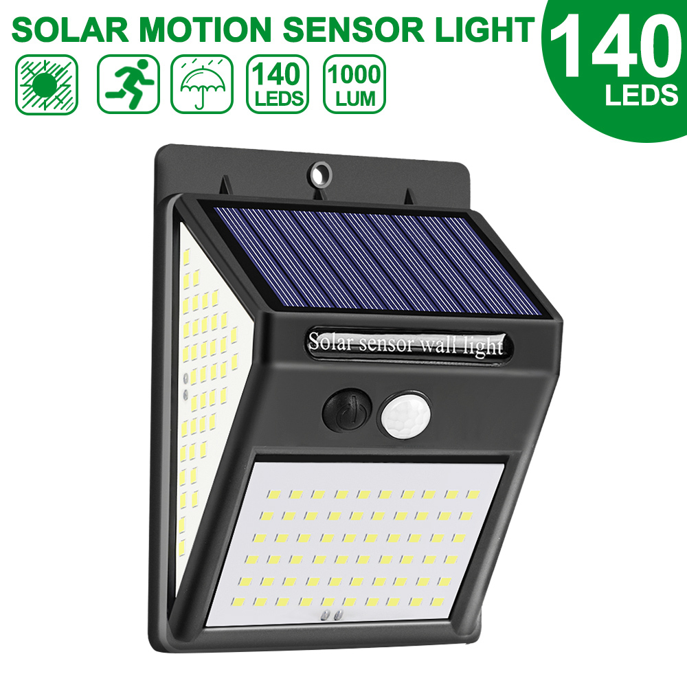 DIDIHOU 100/140 LED Solar Light Outdoor Solar Lamp PIR Motion Sensor Wall Light Waterproof Solar Powered Sunlight For Garden