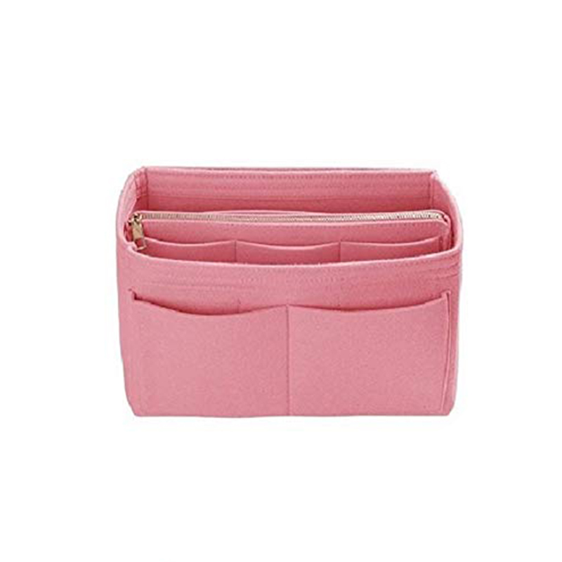 Home Storage Bag Purse Organizer Felt Insert Bag Makeup Organizer Inner Purse Portable Cosmetic Bags Storage Tote Pink L image