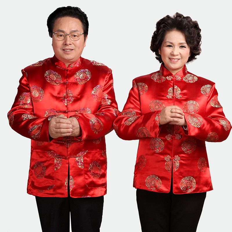 Autumn Clothing 2383-1 Middle-aged Couple Clothes Manufacturers Wholesale Men And Women Long Sleeve Birthday Over The Life Chine
