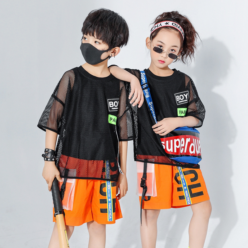 Kids Loose Jazz Dancing Costumes Girls Boys Ballroom Hip Hop Dance Clothes T Shirt Tops Pants Children Jazz Dance Outfits DQS401