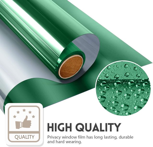 One Way Daytime Privacy Window Tint Self Adhesive Solar Film Anti UV Heat Rejection Green-Silver Mirror Window Film for Home 1