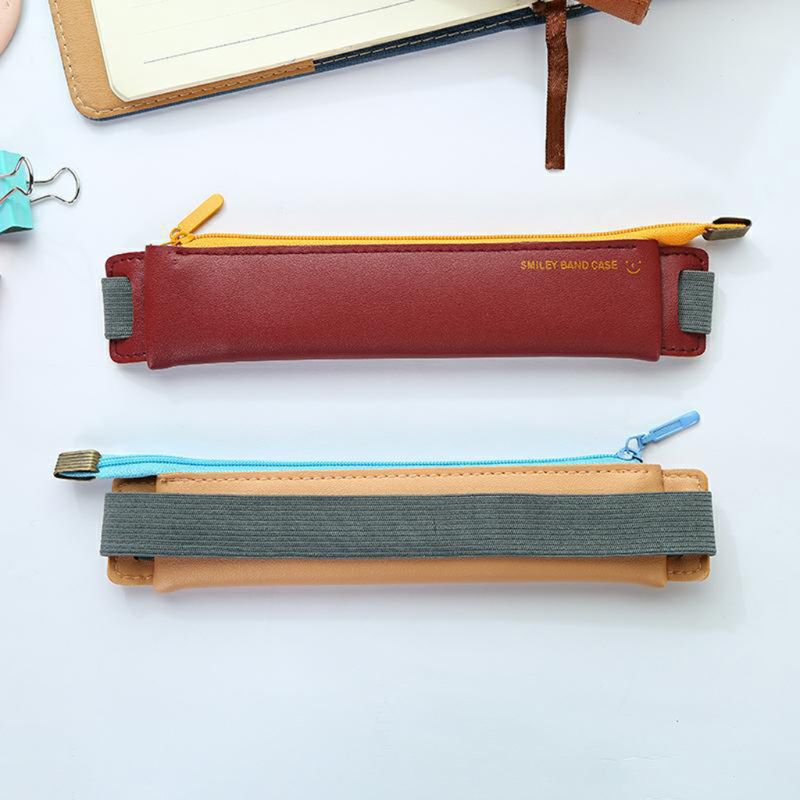 Portable Fashion PU Leather Elastic Buckle Pencil Case Pen Bag For Book Notebook Office School Supplies Stationery Accessories