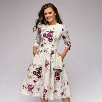 Knee Length A-Line Casual Vintage Spring Autumn Floral Printed Office Lady Dress Women Elegant Long Sleeve Party Dresses цена 2017