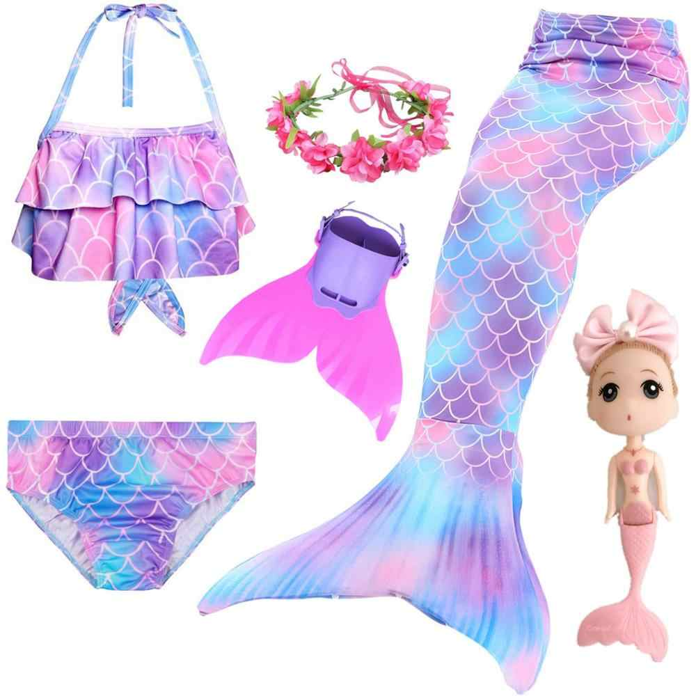 Kids Children Mermaid Tails for Swimming Mermaid tail with Monofin Girls Costumes Swimmable Swimsuit with Bikini Flipper