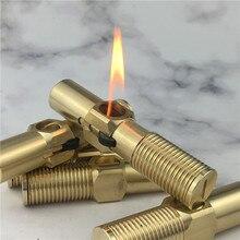 цена на Pure Copper Handmade Big Screw Kerosene Lighter Retro Grinding Wheel Pipe Antique Lighter Cigar Cigarette Lighter
