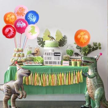 Suministros de fiesta de cumpleaños de dinosaurio Huiran, decoración de fiesta del Mundo Jurásico, decoración de jungla, fiesta de cumpleaños, decoración de niños, fiesta Tropical verde