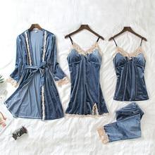Velvet Robe Gown-Sets Sleepwear Lingerie Night-Dress Lace Sexy Women's 4 Four-Pieces