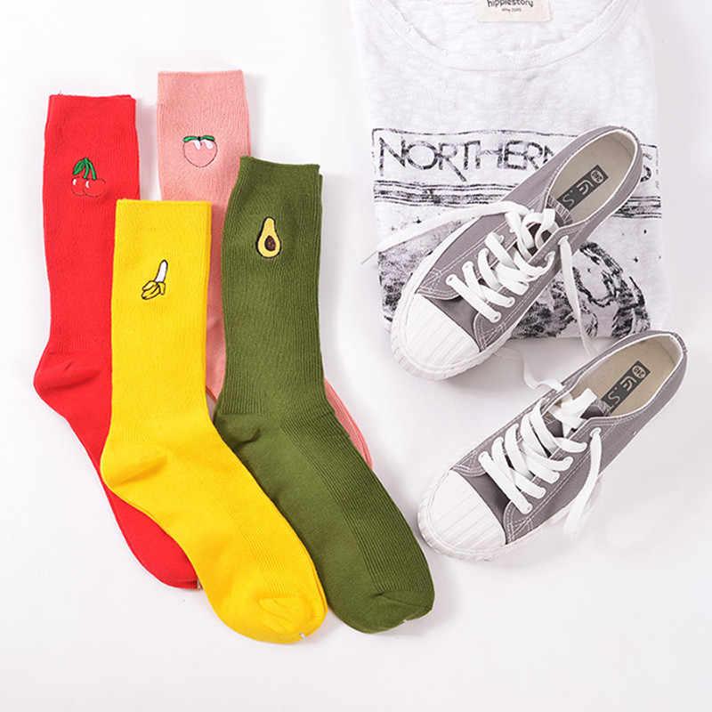 Nette Cartoon Obst Druck Avocado Banana Kirsche Pfirsich Mädchen Kawaii Socken meias Koreanische Harajuku Stickerei Haufen Haufen Lustige Socken
