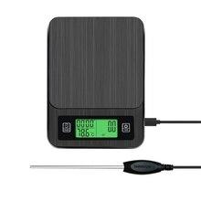 Портативный многофункциональный светодиодный Таймер электронные цифровые капельные кофейные весы с измеритель температуры