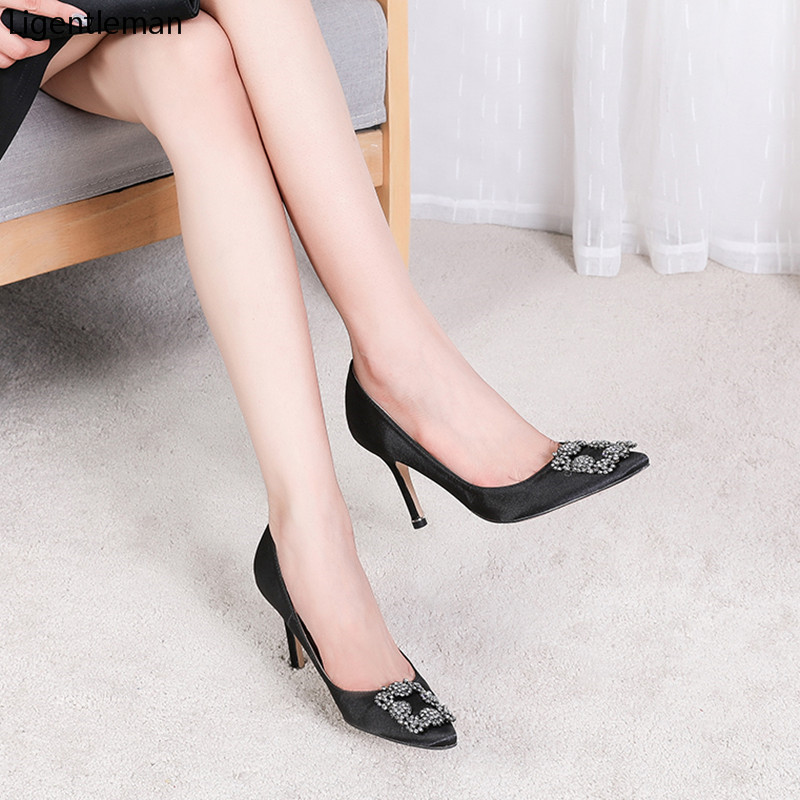 Black Silk Satin Rhinestones High Heels Shoes Woman Pumps Basic 2021 Crystal Diamond Buckle  Fashion Party Sexy Women Shoes Pump