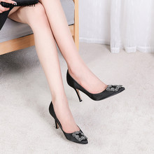 Black Silk Satin Rhinestones High Heels Shoes Woman Pumps Ba