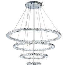 Modern Creative Stainless Steel Ring LED Crystal Chandelier Living Room Restaurant Villa Bedroom Art Light Fixture