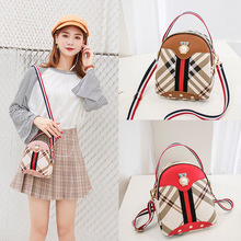 random color owl print coin can 1pc Contrast Webbing Stripe Print Backpack Pearl Owl Mini Women's Small Backpack Shoulder Messenger Coin Purse