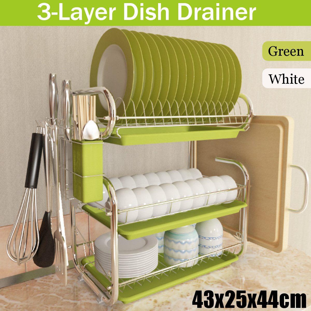 3 ชั้นจานแห้ง Rack ชั้นวางของห้องครัวผู้ถือตะกร้าเหล็กชุบมีด SINK Drying Rack Organizer