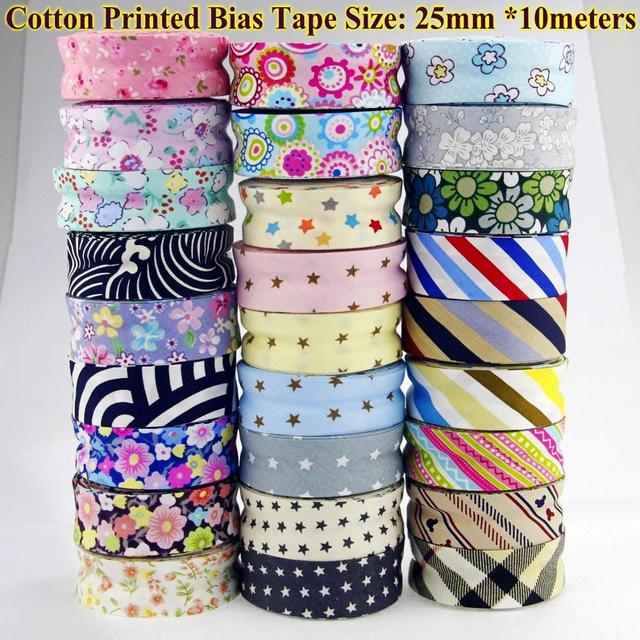 "Free shipment  100% Cotton Bias tape printed, size: 25mm,1"" 10meter printed flowers Cotton twill Bias binding tape DIY sewing"