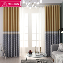 MISSION Room Darkening Curtains for Windows Drapes European Modern Geometric Printed Shade Curtain Blind For Living Bedroom