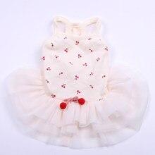 New Dog Cat Dress Shirt Cherry Design Pet Puppy Vest Skirt Spring/Summer Clothes Outfit 5 Sizes