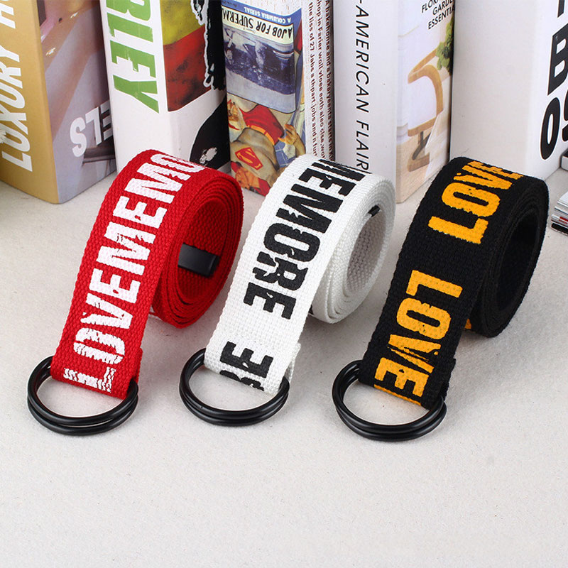 Women Harajuku Belt Letter Printed Unisex Double D Ring Canvas Strap Female Long Belts For Jeans Belts For Women Men Canvas Belt