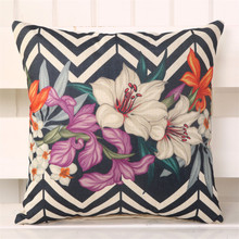 45x45cm Vintage Flower Pattern Printed Cushion Cover Cotton Linen  Square Pillow Case Living Room Sofa Pillowcase creative abstract person portrayal pattern square shape flax pillowcase without pillow inner