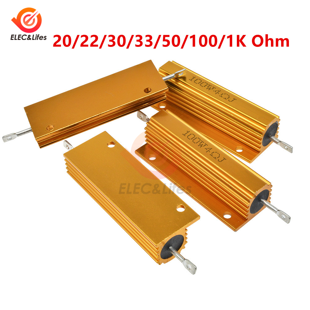 100W Power Oxidized gold plated Aluminum Shell Wirewound Resistor resistance <font><b>10</b></font>/<font><b>12</b></font>/<font><b>15</b></font>/20/22/30/33/50/100/1K Ohm 5% image