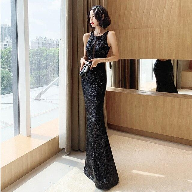 It's Yiiya Evening Dresses For Girls Black Sequined Formal Evening Dresses Sleeveless Halter Mermaid Long Evening Gowns K098 3