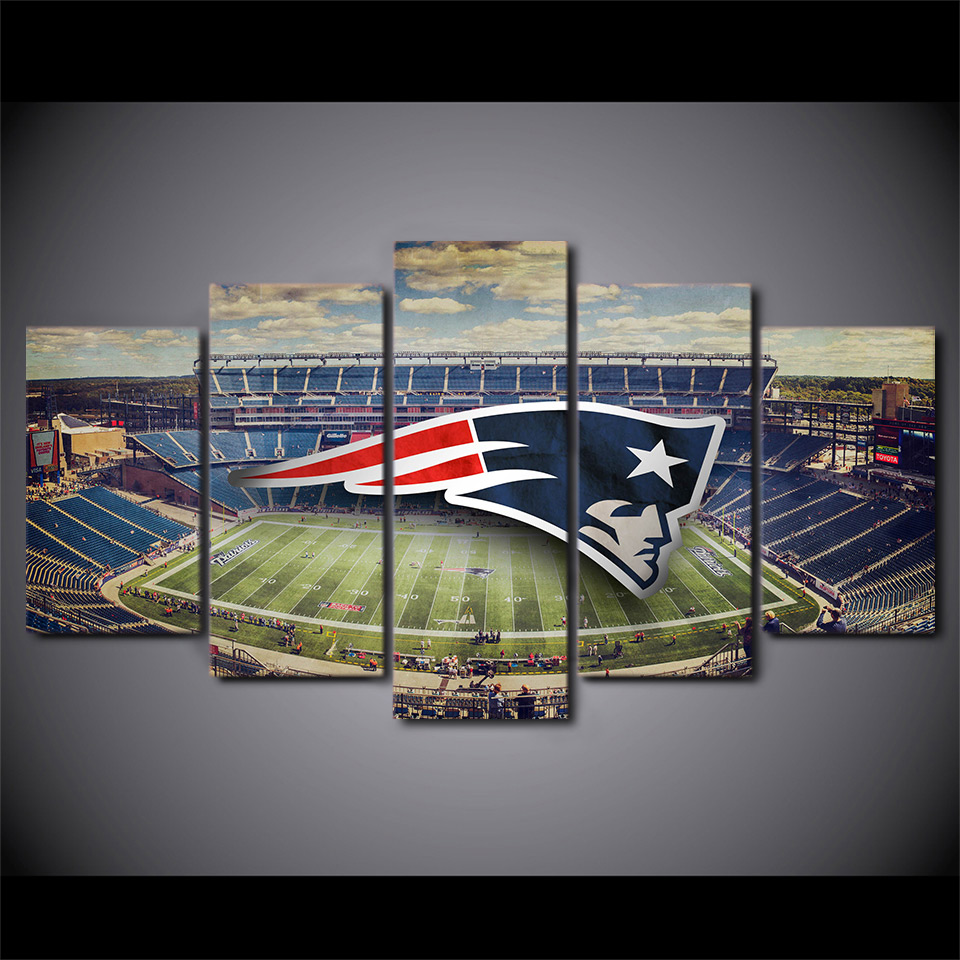 New england patriots stadium posters for living room canvas painting wall pictures Of 5 piece canvas art