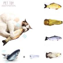1 шт. кошка Вибрационный кошачья игрушка 28 см Танцы перемещение флоппи-рыба кошки игрушка зарядка через USB моделирования кошка игрушка элект...