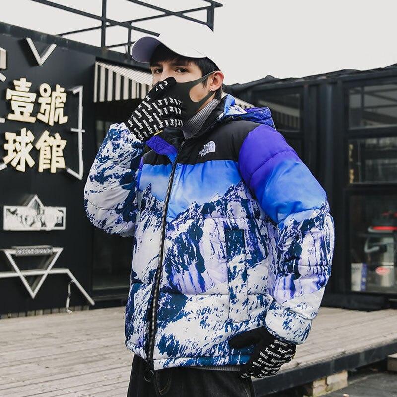 2019 Thick Warm Men Winter Jacket Clothes Casual Loose Harajuku Mens Parkas Coats Hooded Print Red Male Windbreaker
