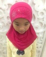 2 7 ปีหญิงคริสตัลกัญชาสาว Headscarf มุสลิม Hijabs หมวกสวยเพชร Sunflower Instant Hijabs สำหรับสาว