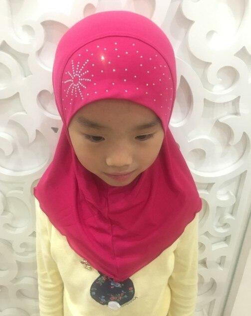 2 7 歳の少女クリスタル麻女の子ヘッドスカーフイスラム教徒 Hijabs キャップ美しいダイヤモンドひまわりインスタント Hijabs 女の子