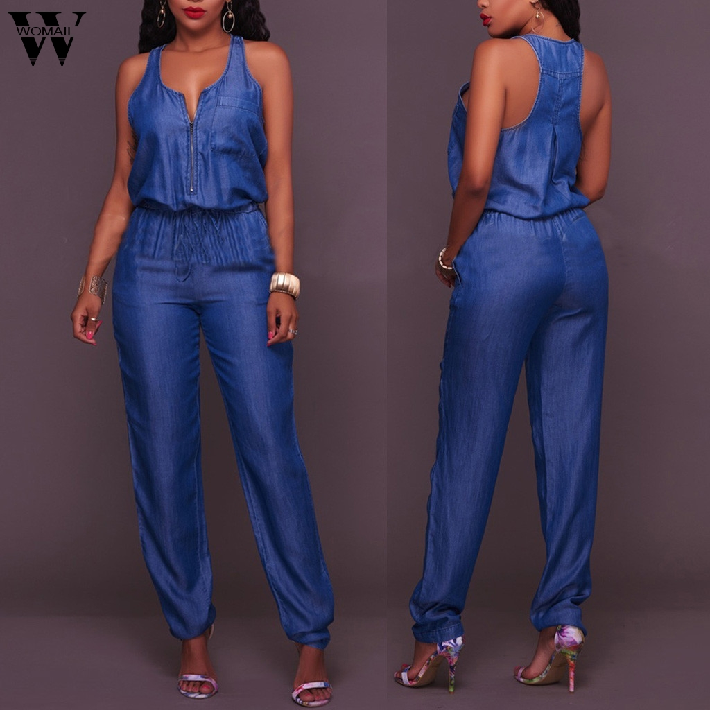 Womail Women Jumpsuit 2020 Summer Jumpsuit Jean Women Overall Bule Denim Romper Long Trouser Vaqueros Female Straps Pant Romper