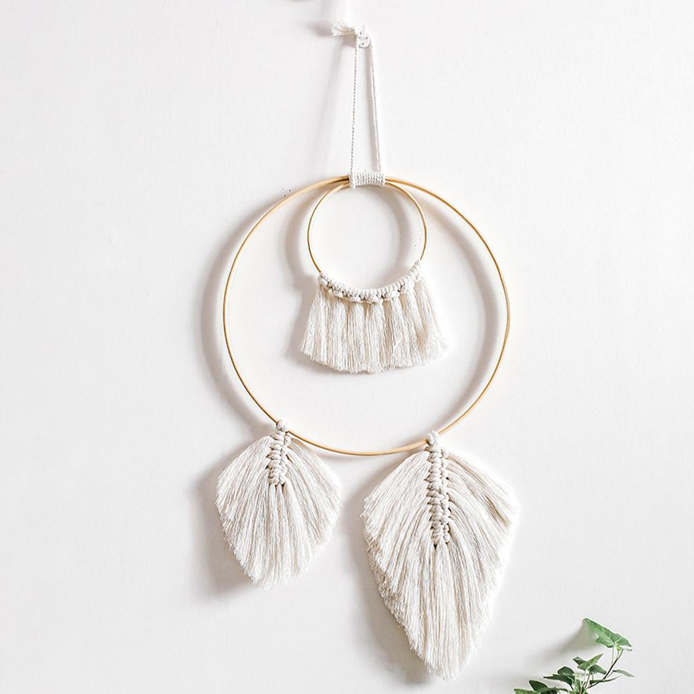 Macrame Nordic Tapestry Wall Hanging Handwoven Simple Boho Dream Catcher Hanging Pendant Living Room Bedroom Wall Mandala Decor
