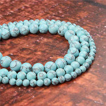 Fashion Light Blue Pine Round Beads Loose Jewelry Stone 4/6/8/10 / 12mm Suitable For Making Jewelry DIY Bracelet Necklace